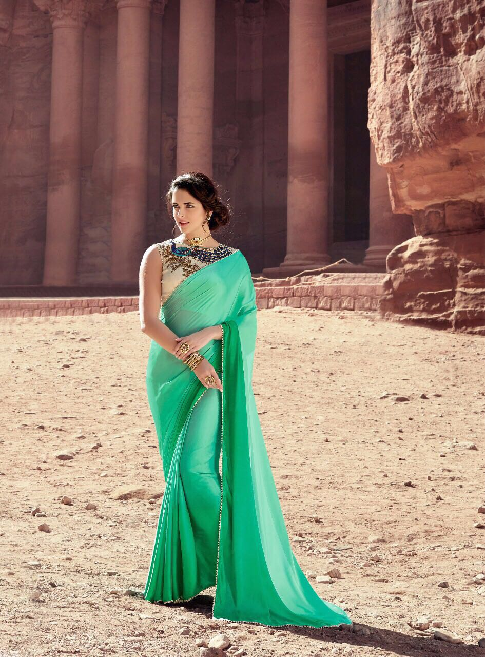 priyafashion Twinsbirds By Green Plain Designer Moss Silk Saree With Heavy Embroidery Blouse