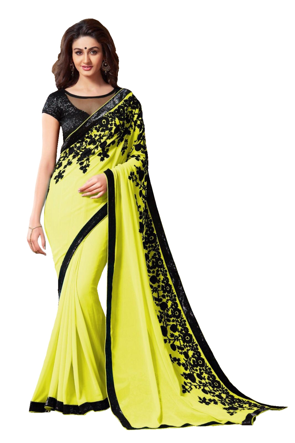 aahnafashion Beautiful Yellow Embroidered Chani Stitch Work Georgette Saree With Blouse