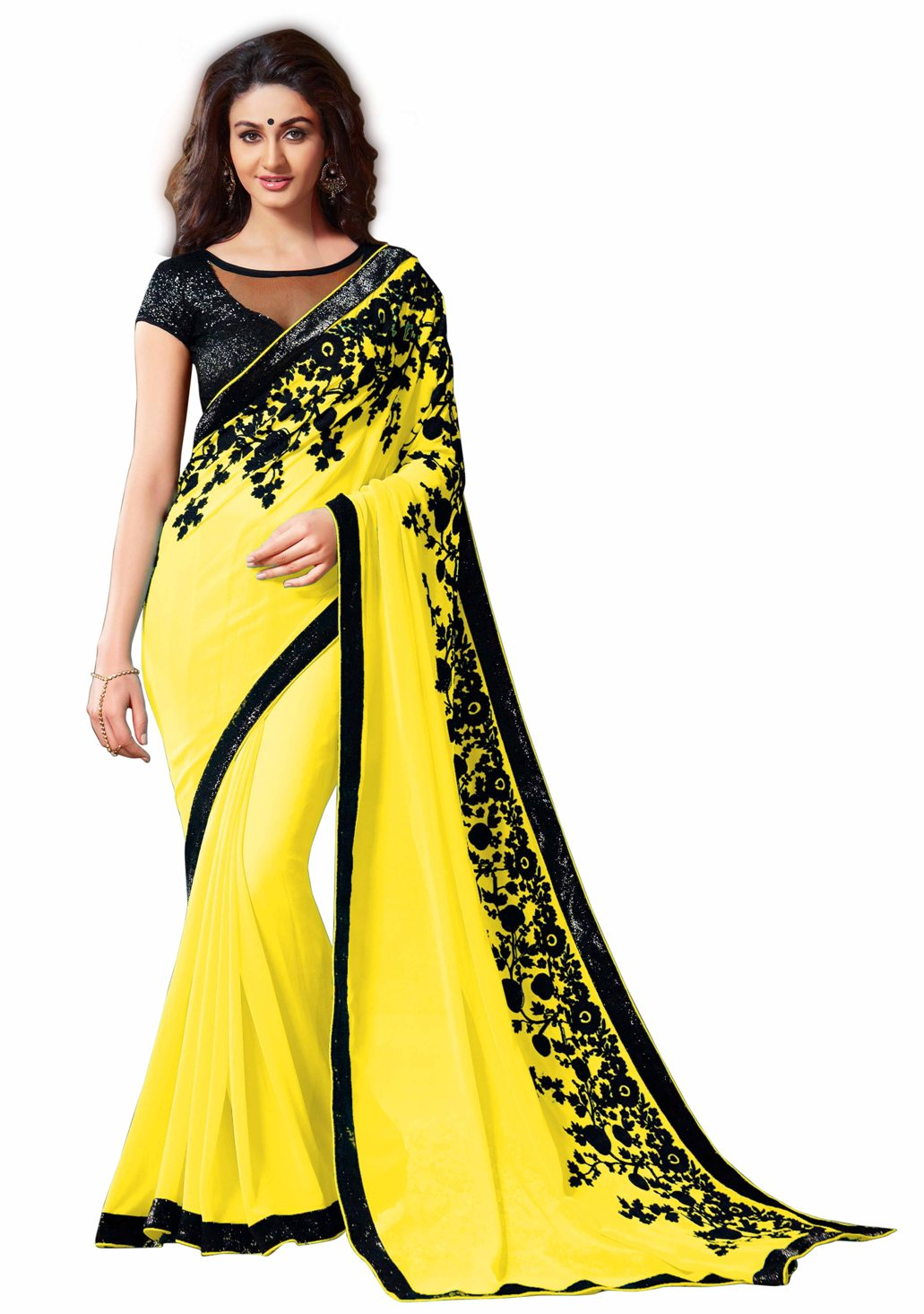 aahnafashion Beautiful Light Yellow Embroidered Chani Stitch Work Georgette Saree With Blouse