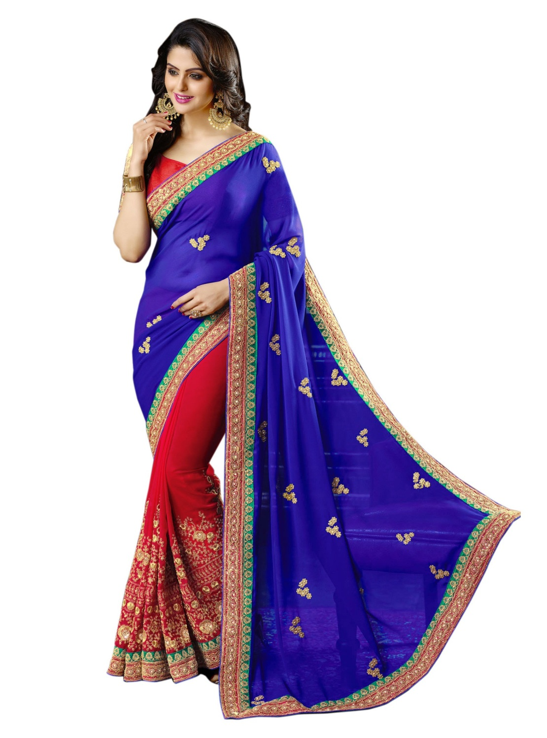aahnafashion Beautiful Red And Blue Half-half Embroidered Work Georgette Saree With Blouse