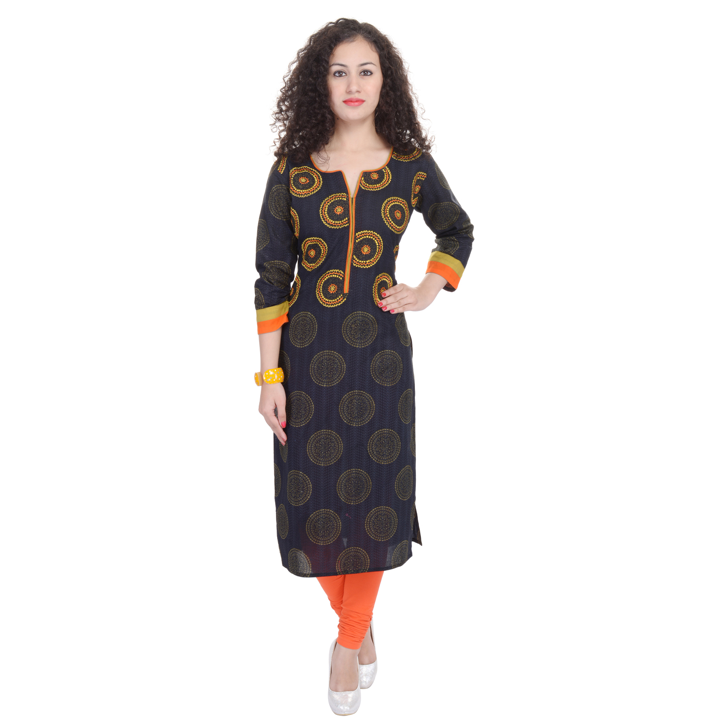 trisha3 Trisha Black Cotton Printed Casual Wear Women Kurti