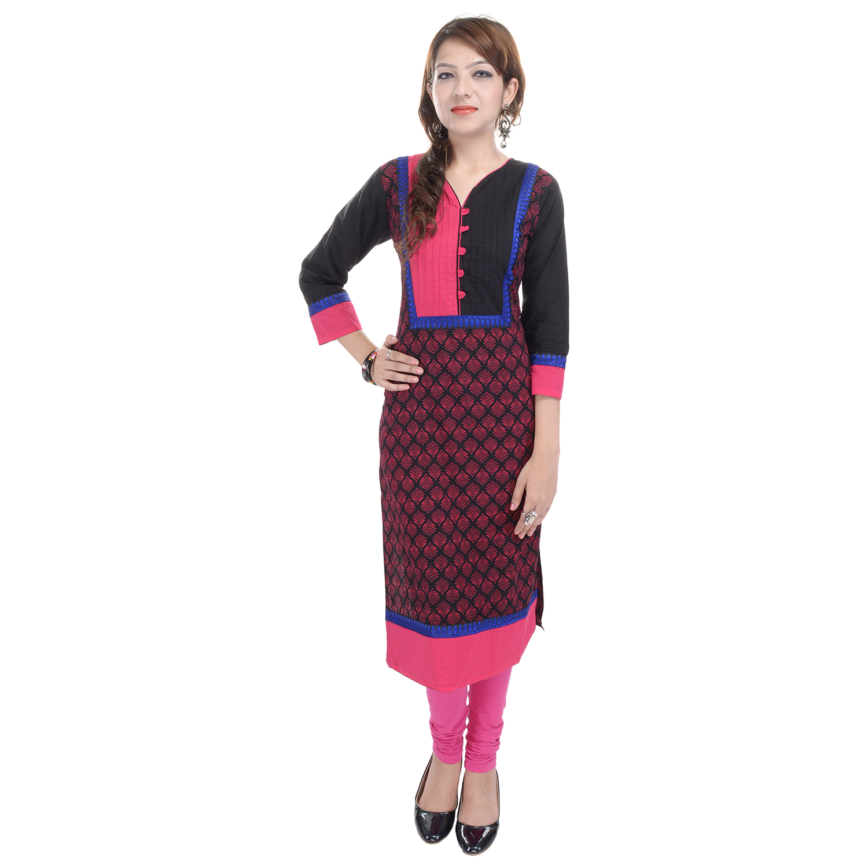 trisha3 Trisha Multicolor(black & Pink) Cotton Printed Casual Wear Women Kurti