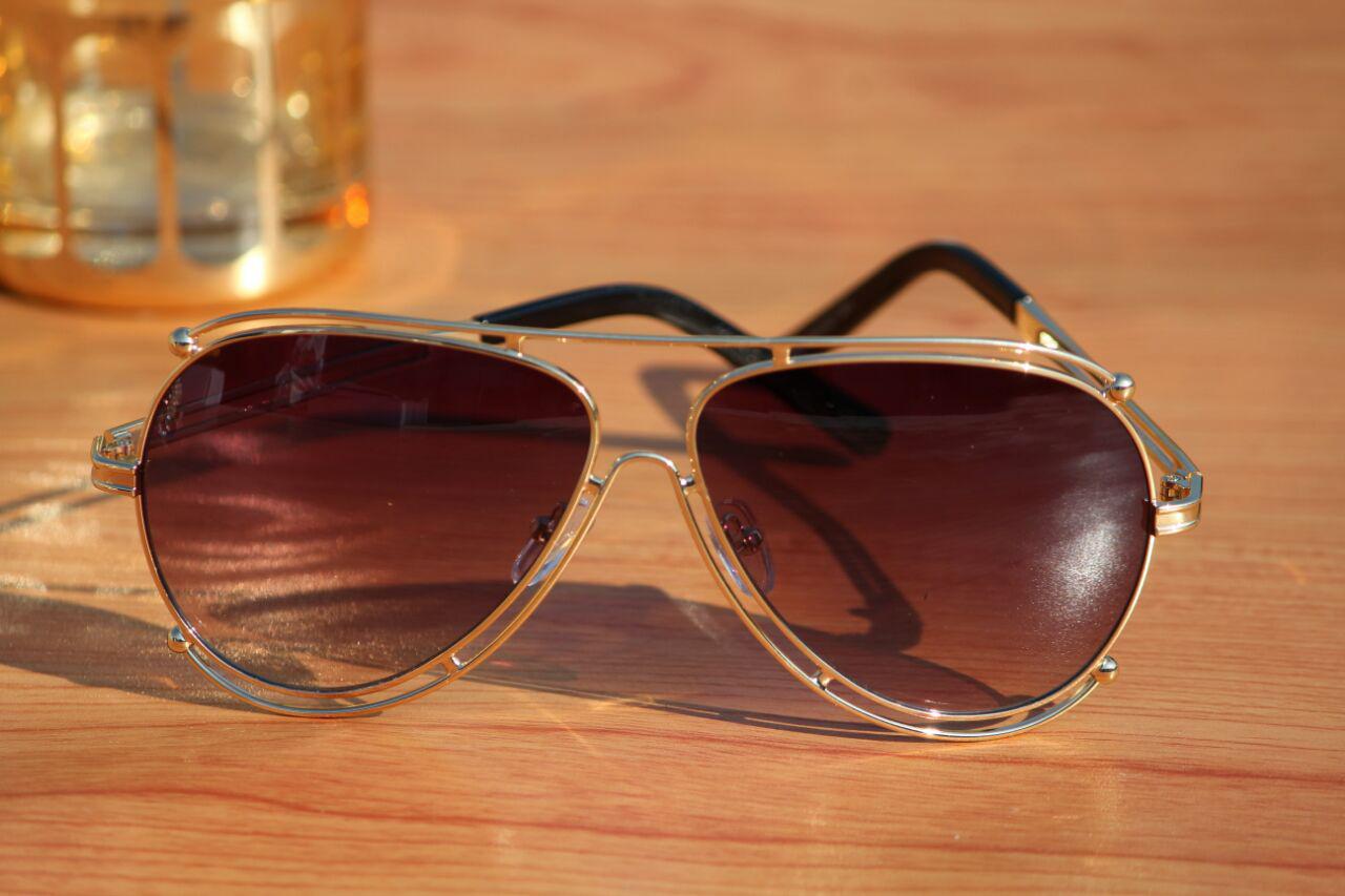 luxurystore Golden And Gold Stylish Sunglasses W 1403