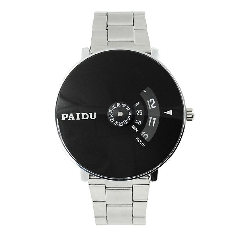 luxurystore Paidu Quartz Wrist Watch Silver Band Black Dial Turntable Dial Hours Mens
