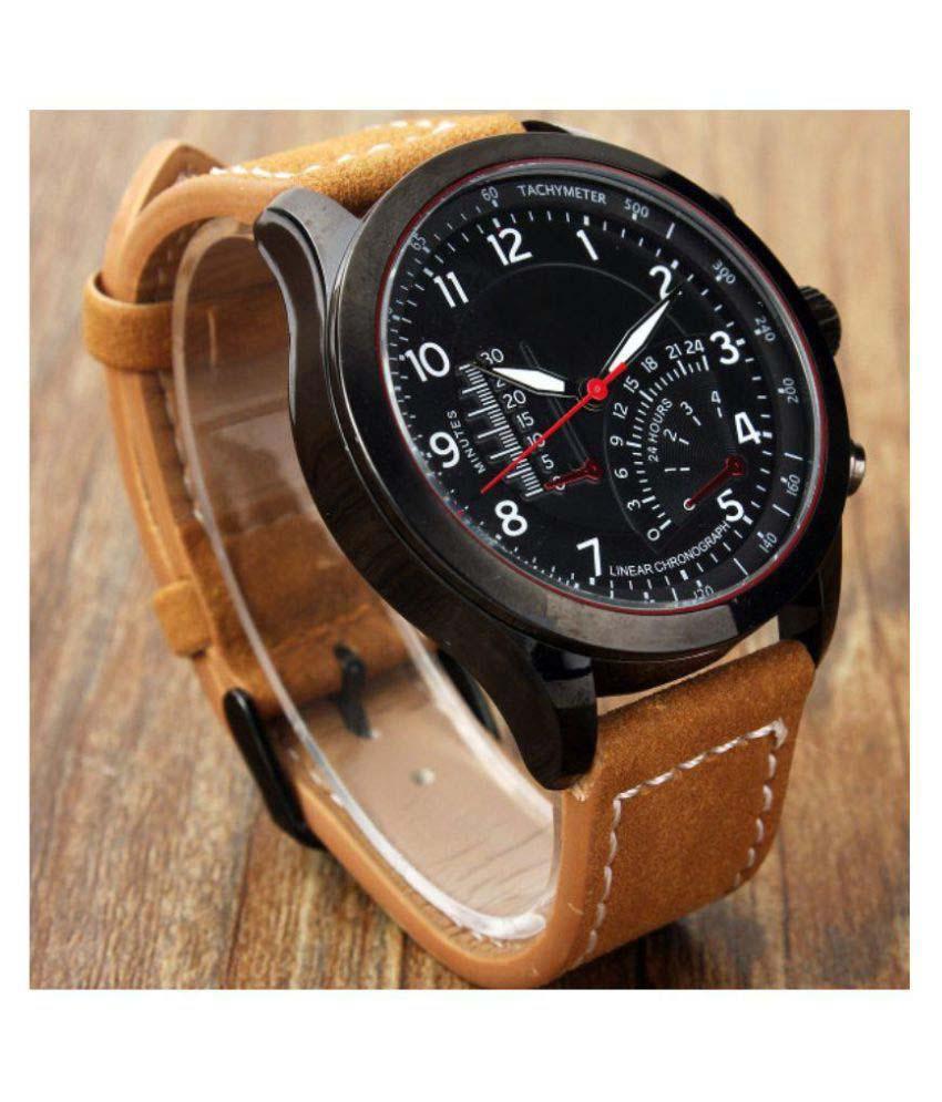 luxurystore Brwon Leather Belt Watch For Men