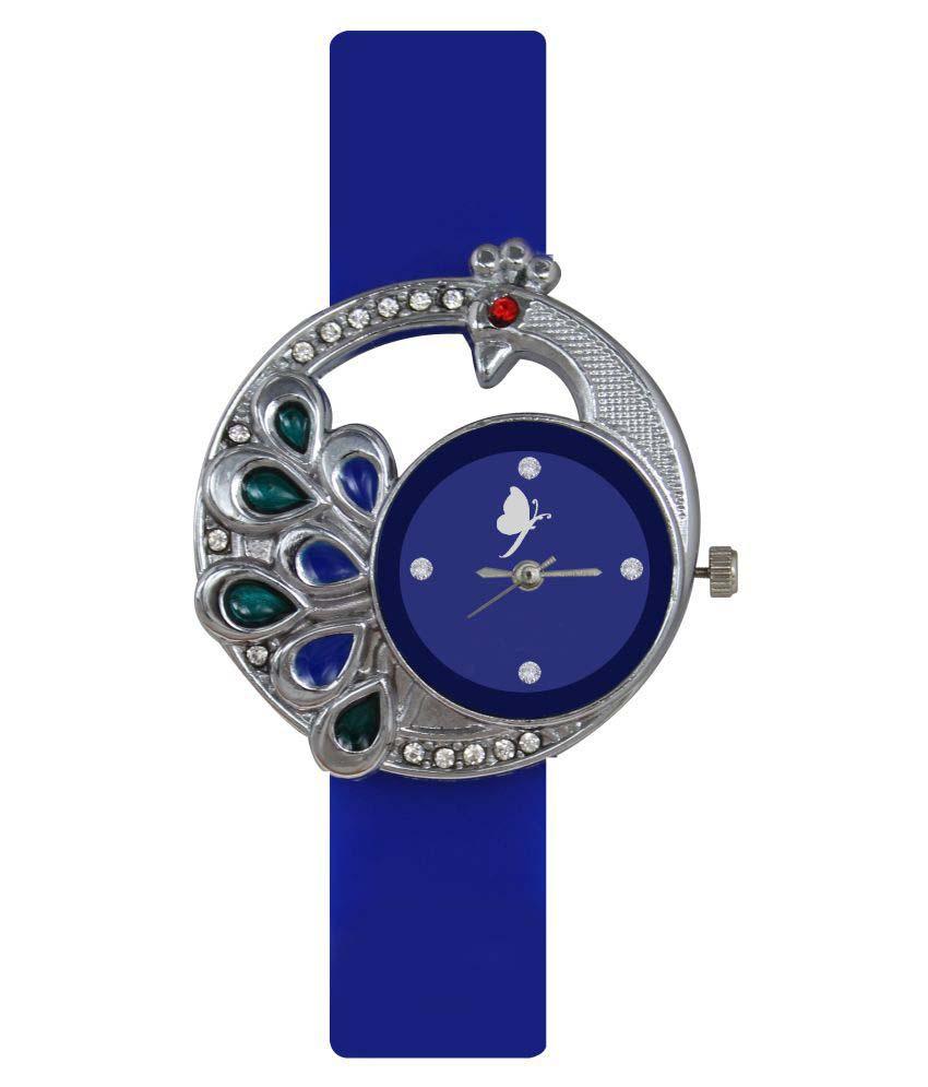 luxurystore Blue Diamond Rubber Belt Watch W06