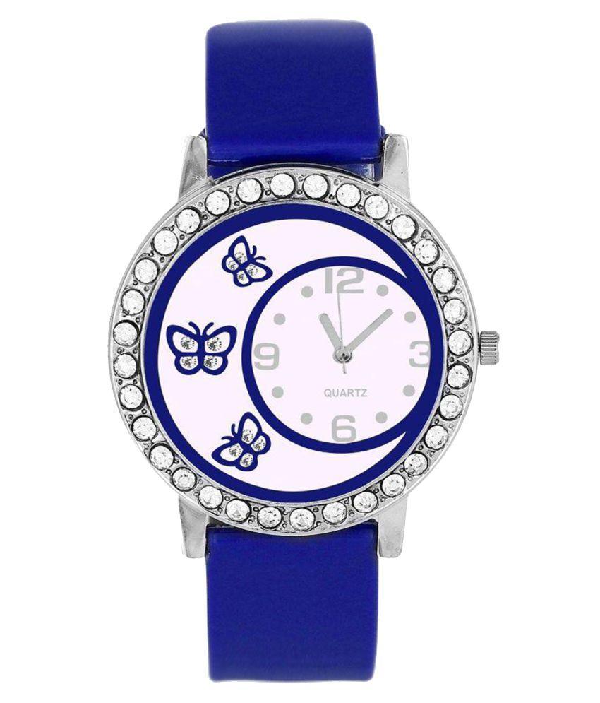 luxurystore Blue Diamond Rubber Belt Watch W19
