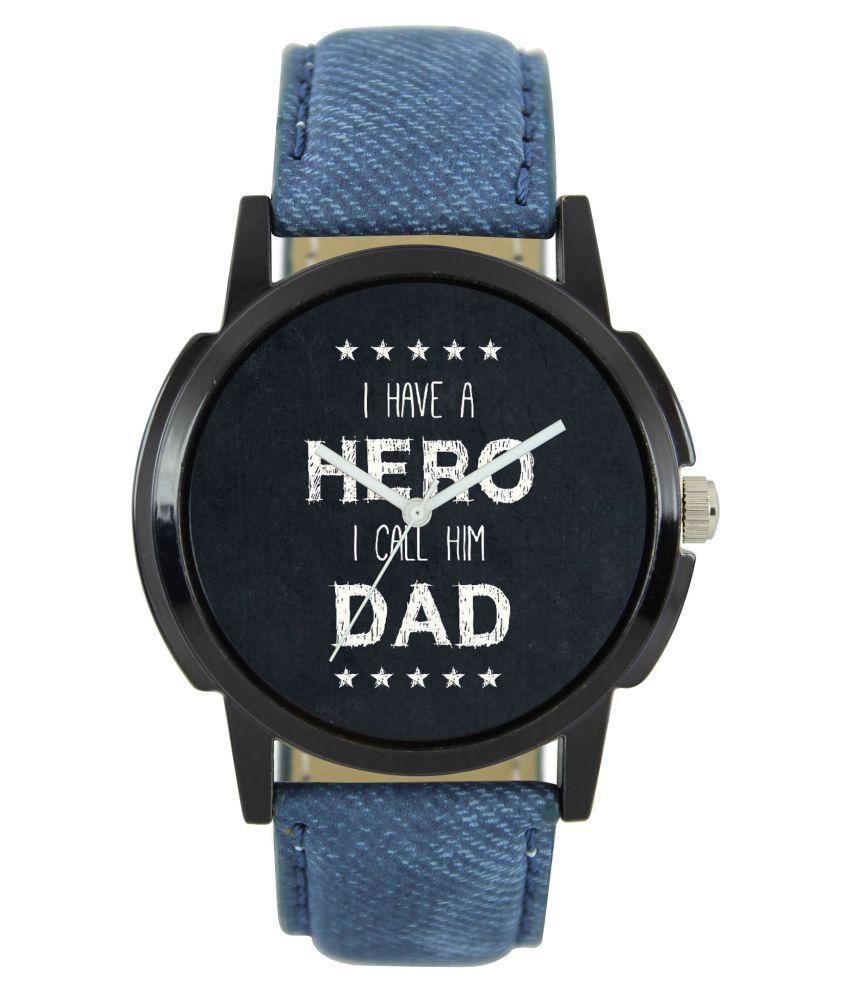 luxurystore Blue Leather Belt Watch For Men W22
