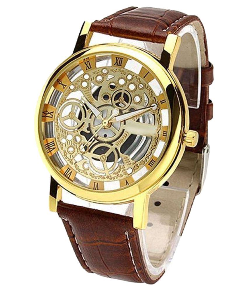 luxurystore Brown Open Dial Watch W25