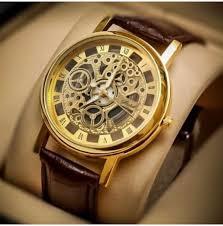 luxurystore Luxury Open Dial Brown Belt Men Watch