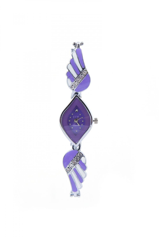 luxurystore Purple Diamond Steel Belt Watch