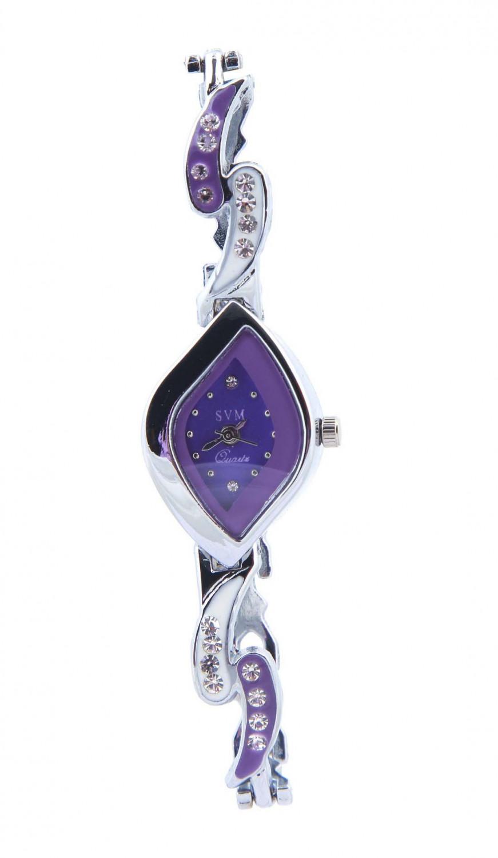 luxurystore Purple Diamond Teell Belt Watch