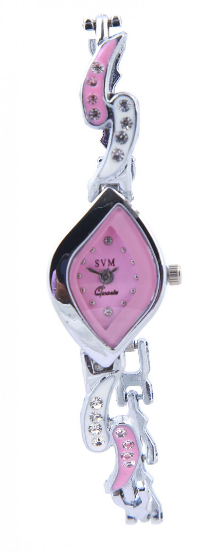 luxurystore Pink Diamond Steel Belt Watch