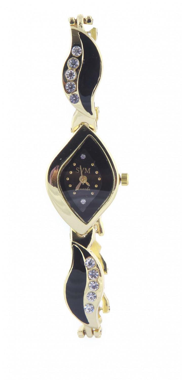 luxurystore Black Diamond Steel Belt Watch