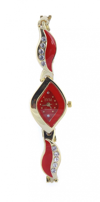 luxurystore Red Diamond Steel Belt Watch