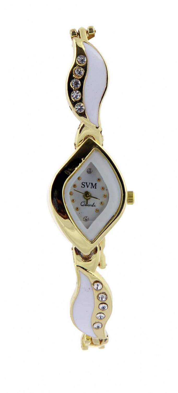 luxurystore White Diamond Steel Belt Watch
