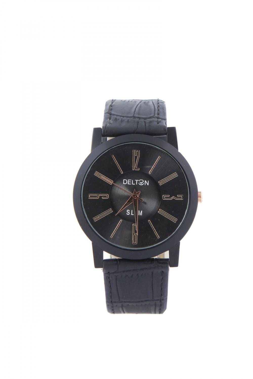 luxurystore Luxury Black Leather Belt Watch For Men 003