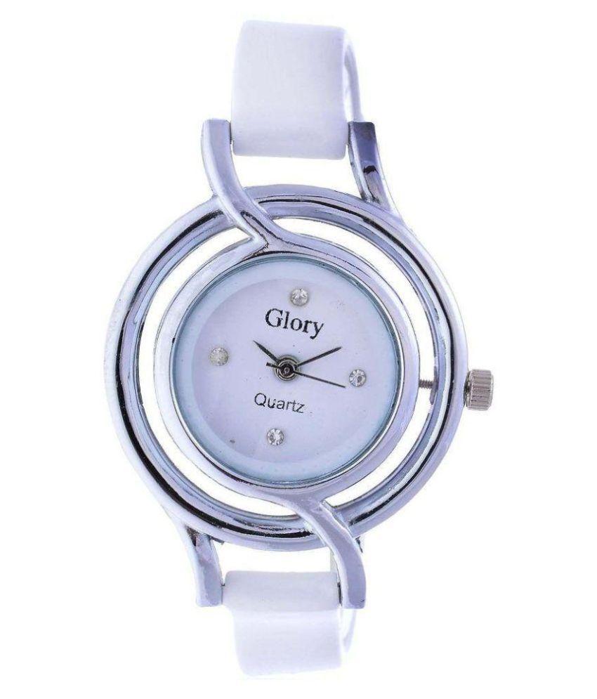 luxurystore Glory White Rubber Belt Watch W14