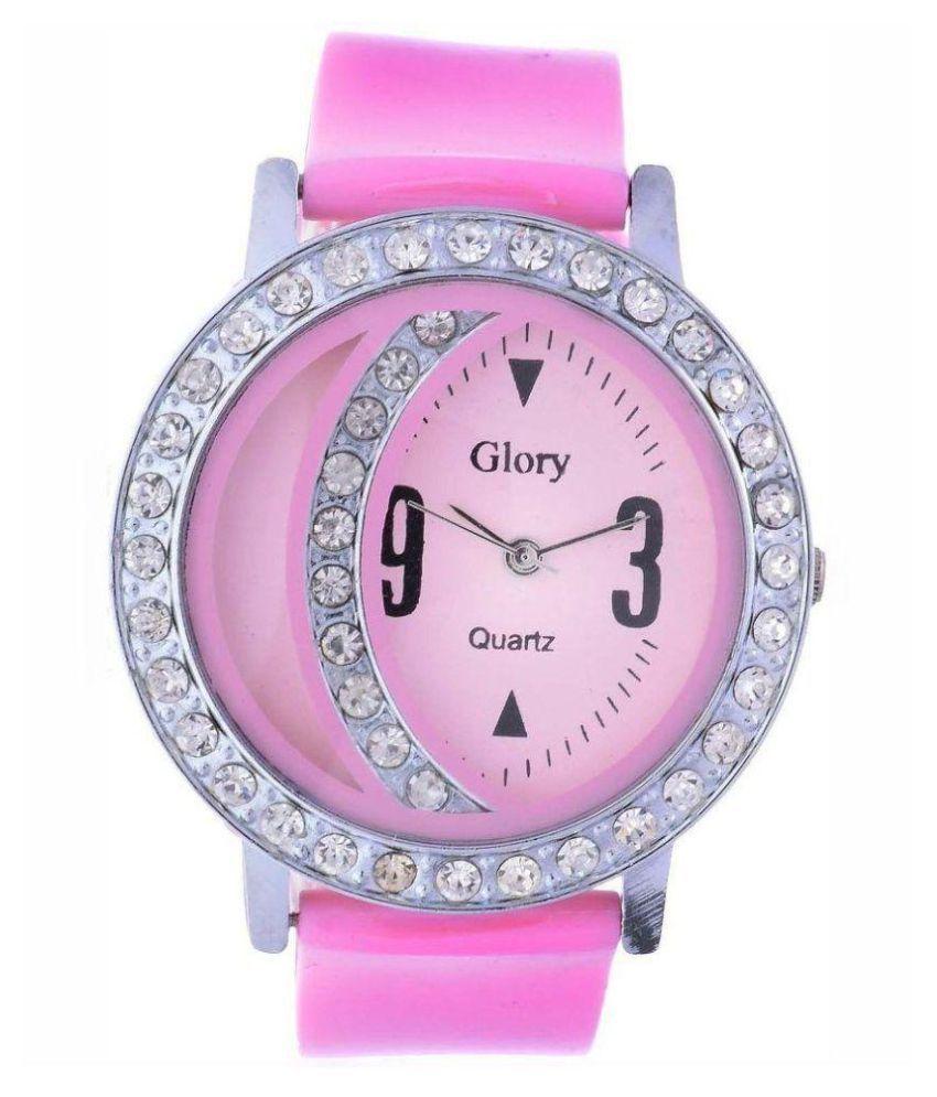 luxurystore Pink Diamond Rubber Belt Watch W17