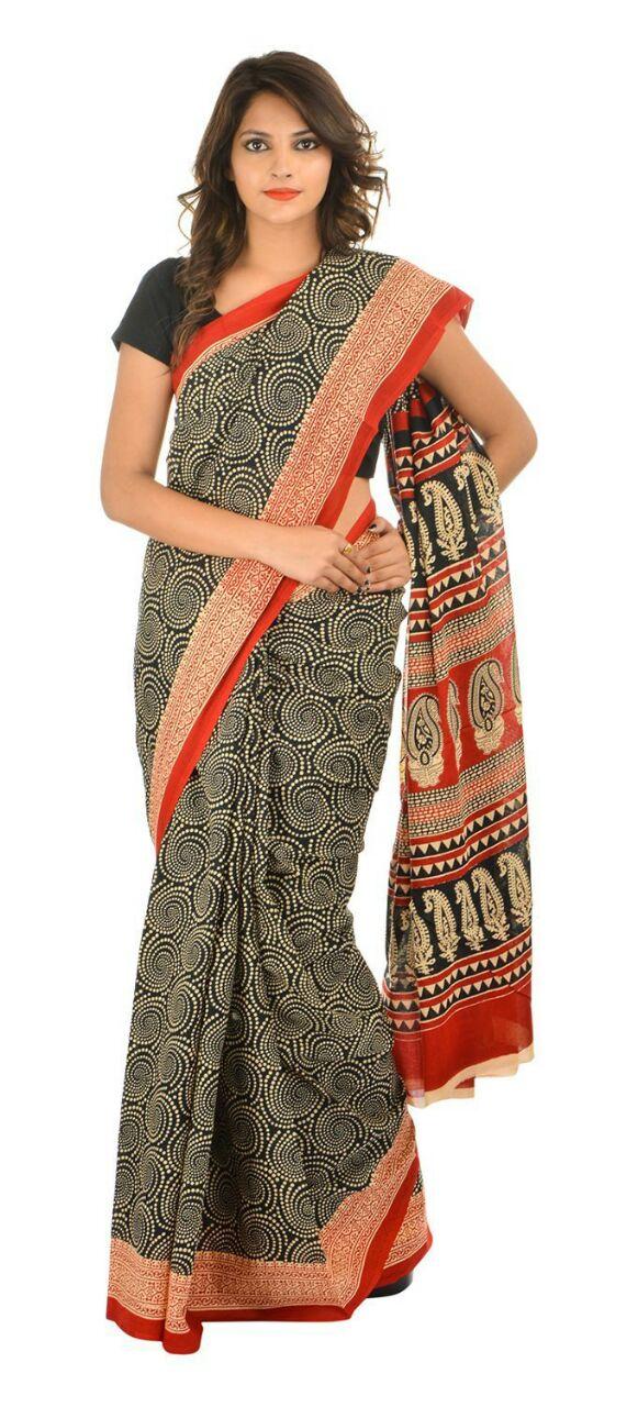 chandericottonsilk Chanderi Cotton Printed Saree_007