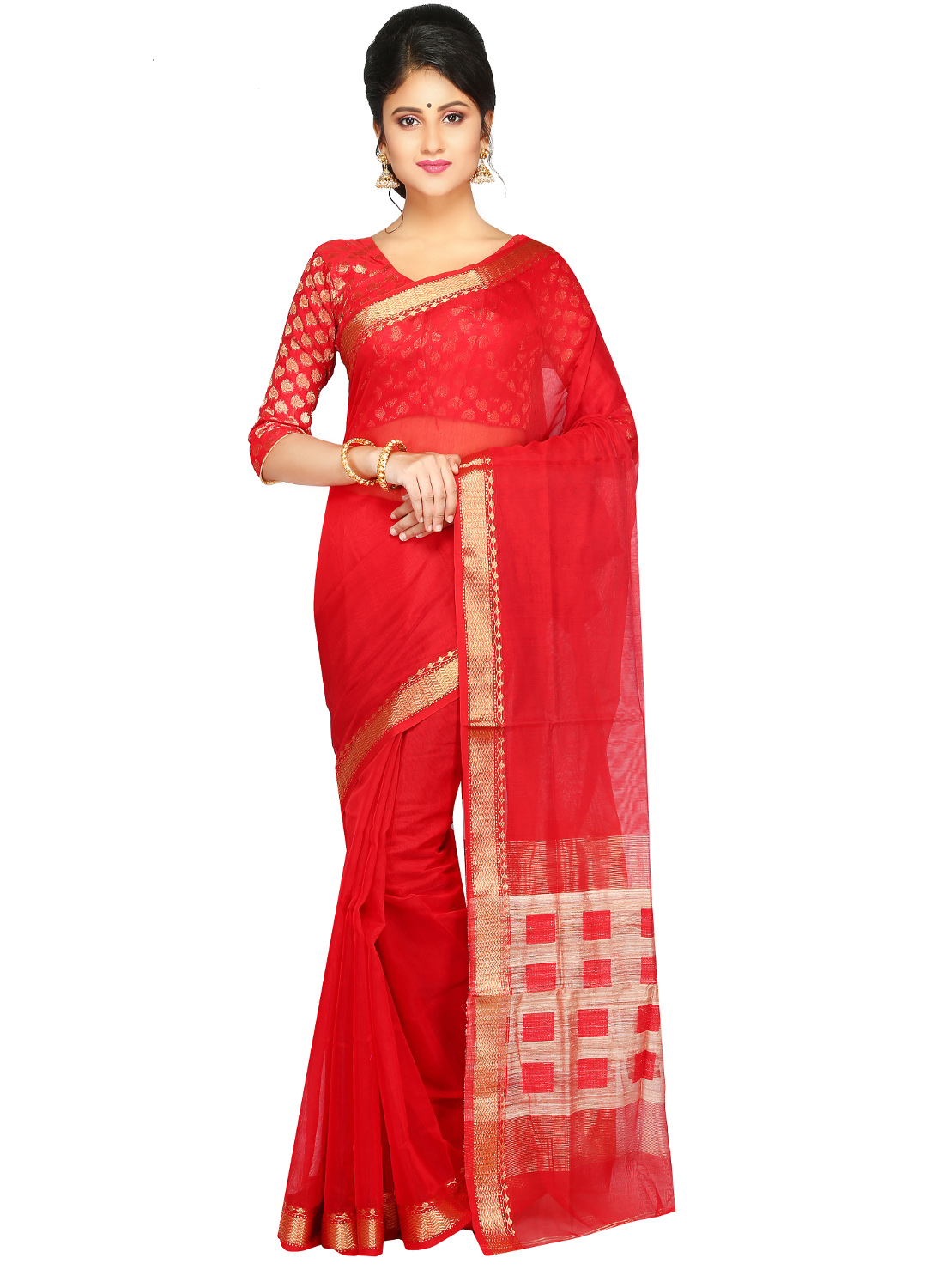 Pinkloom Women's Handloom Silk Cotton Saree Of Bengal With Blouse Piece From The Weavers Of Famous Dhakai Jamdani Saree(red)