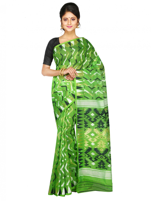 Pinkloom Women's Dhakai Jamdani Saree Of Bengal (green)