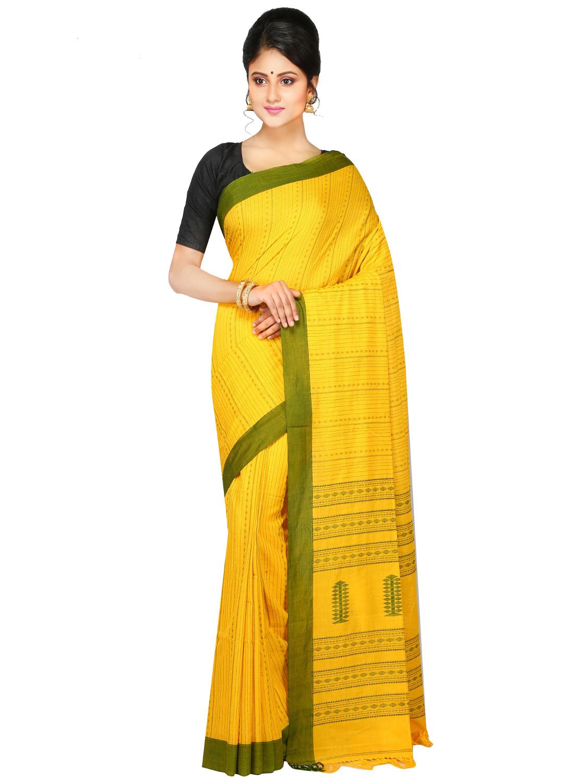 Pinkloom Handloom Pure Cotton Saree Of Bengal With Blouse Piece From The Weavers Of Famous Dhakai Jamdani Saree(yellow)