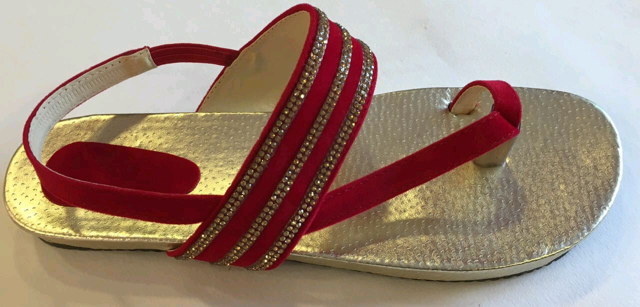 radhikaenterprise Stylish Red And Gold Sandals For Women