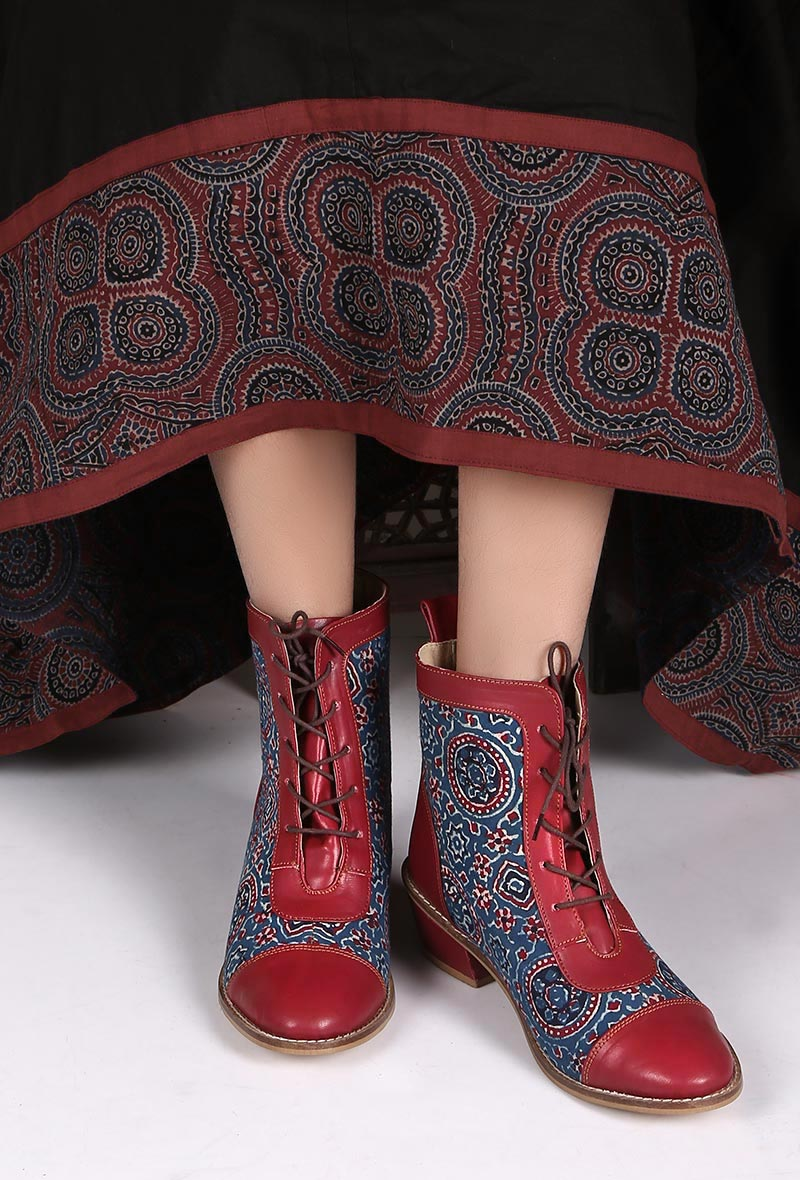 tjori Red Leather Ajrakh Lace Up Boots