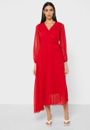 Wrap Front Pleated Maxi Dress