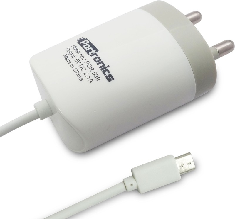 Portronics 2.1A micro USB Cable POR-539 1 A Mobile Charger(White)