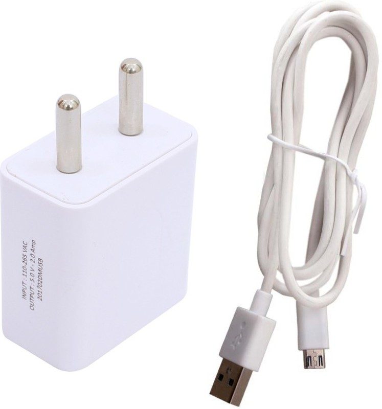 Trost 2A FAST Charger with Sync Cable for Mi4i 1 A Mobile Charger with Detachable Cable(White)