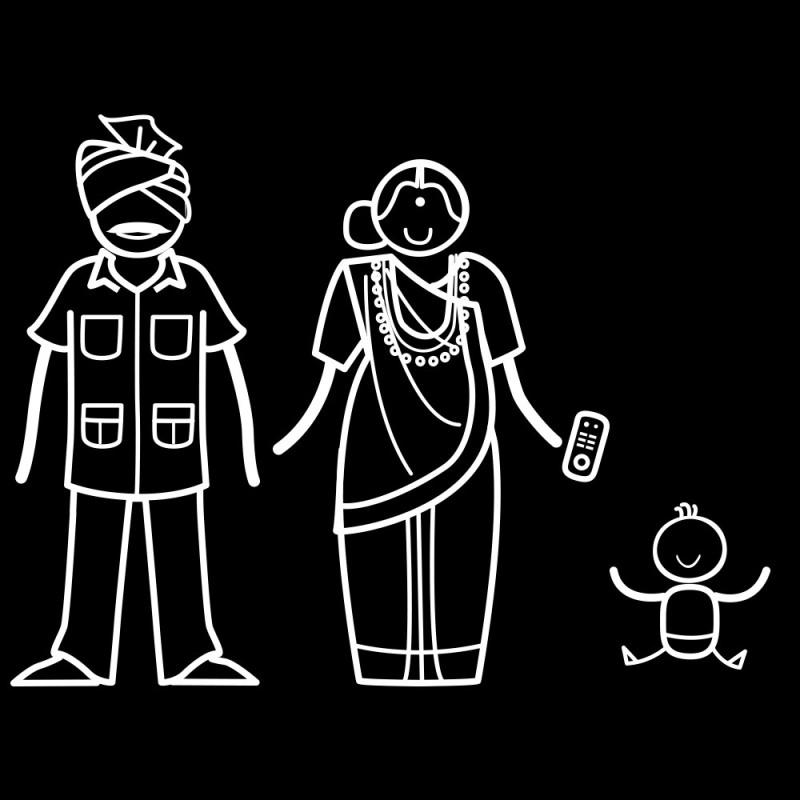 The Indian Family Sticker Family for(White, Transparent)
