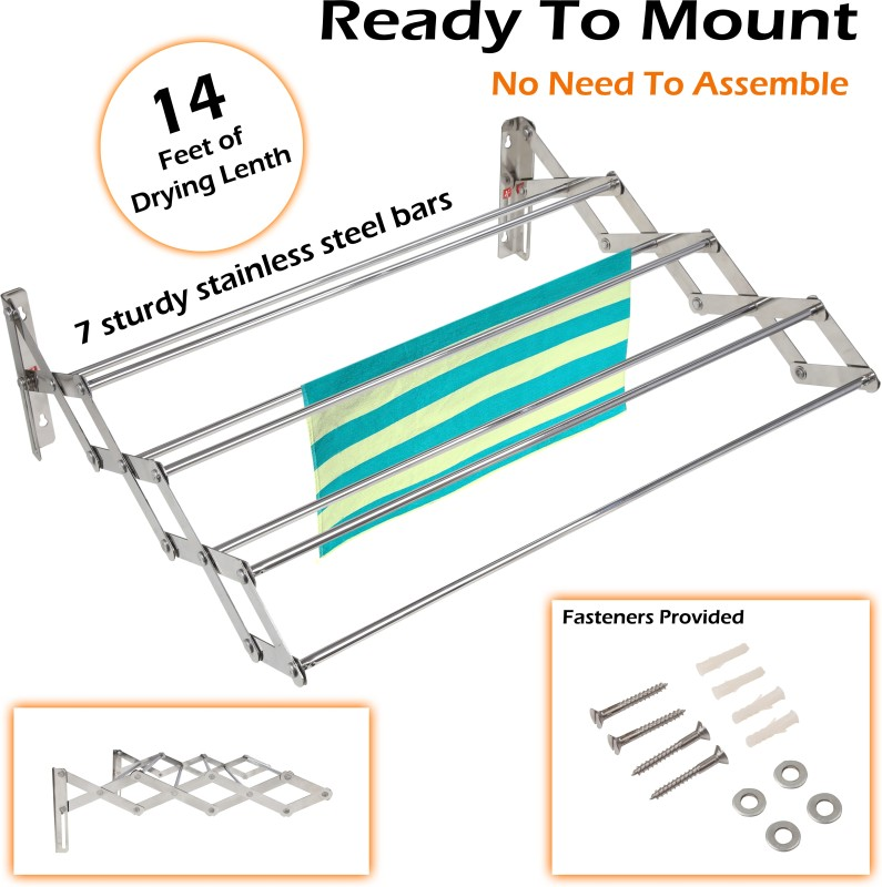 YT Wall Mounting Foldable 2 Feet Stainless Steel Wall Cloth Dryer Stand(Steel)