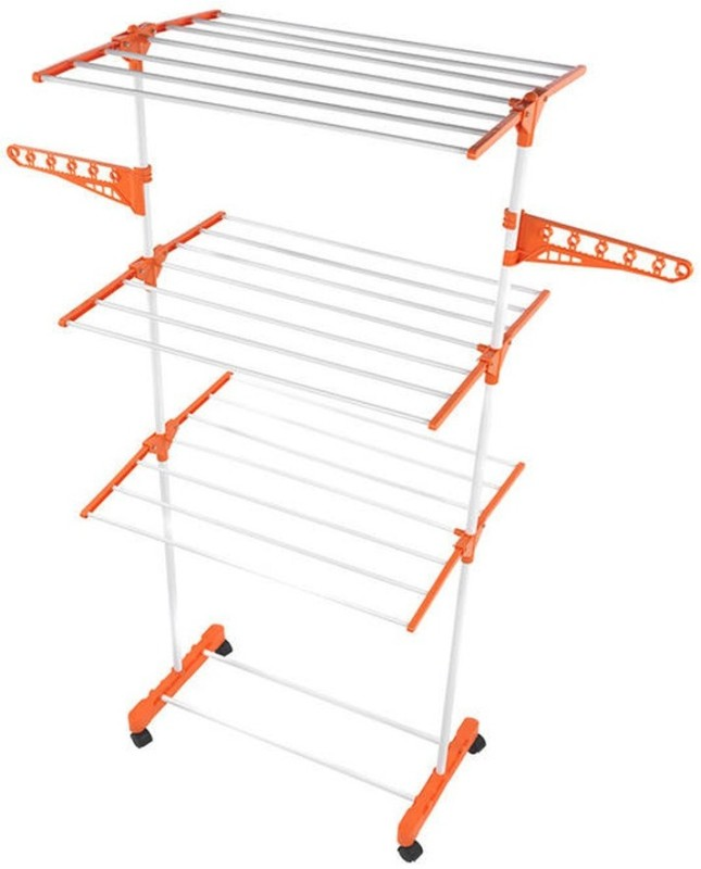 Stargale Steel Floor Cloth Dryer Stand(Orange)