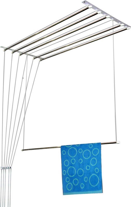 Rainbow Drywell 6 Pipes 4 Feet Luxury Stainless Steel Ceiling Cloth Dryer Stand(Steel, White, Pack of 1)