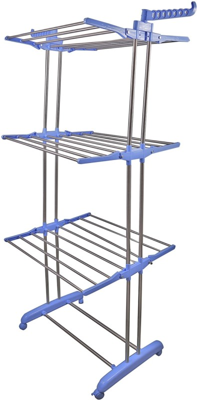 Brecken Paul Stainless Steel Floor Cloth Dryer Stand(Steel, Blue)