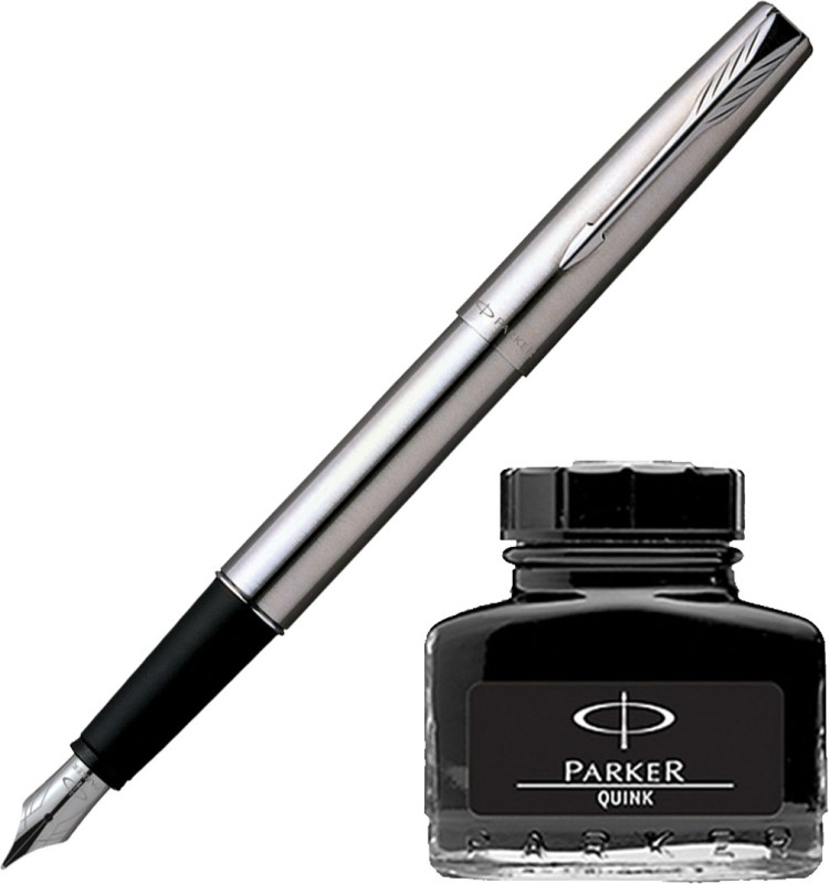 Parker Frontier Stainless Steel CT Fountain Pen with Black Quink Ink Bottle(Pack of 2)