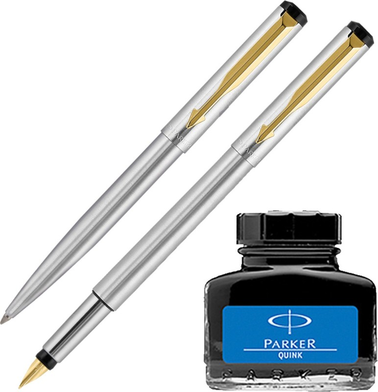 Parker Vector Stainless Steel GT Fountain Pen & Ball Pen with Blue Quink Ink Bottle(Pack of 2)