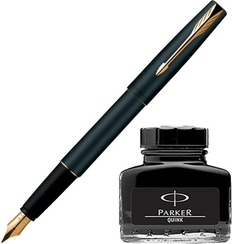 Parker Frontier Matte Black GT Fountain Pen with Black Quink Ink Bottle(Pack of 2)
