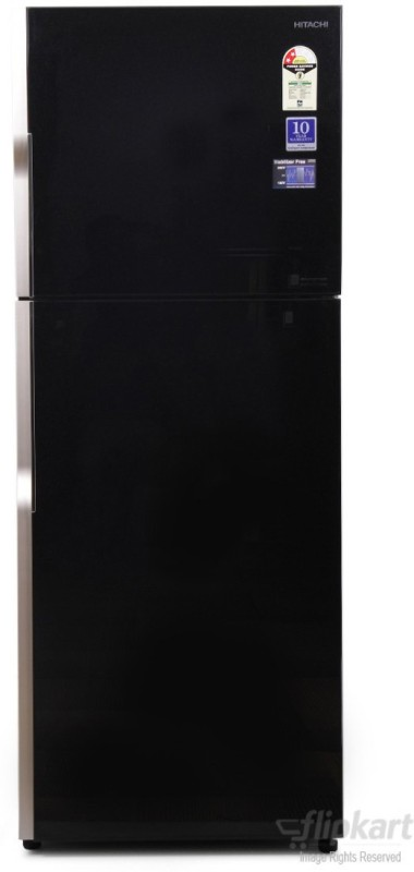 Hitachi 382 L Frost Free Double Door 2 Star Refrigerator(Glass Black, R-VG400PND3- (GBK))