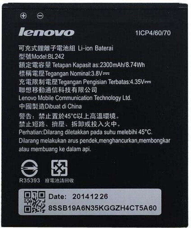 Lenovo Mobile Battery For  LENOVO Lenovo A6000 A3860 A3580 A3900 battery-2300mAh BL242