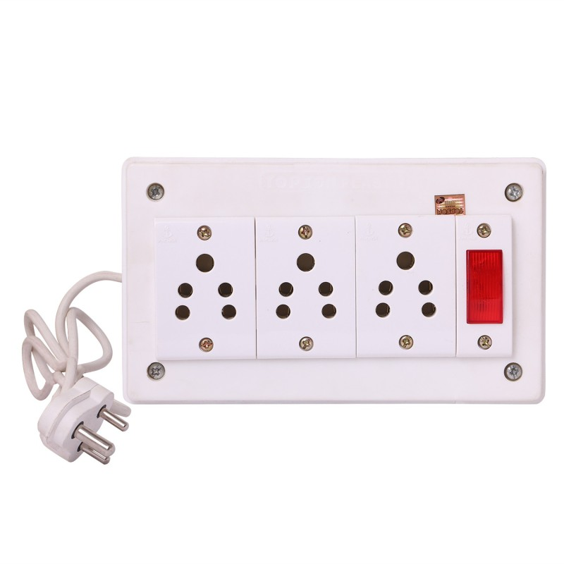 Bahul Power strip extension multi outlet board Fitted with 3 Anchor Sockets(5 Amp),Anchor Indicator And 4 Metre Wire With 5 Amp Plug 3  Socket Extension Boards(White)