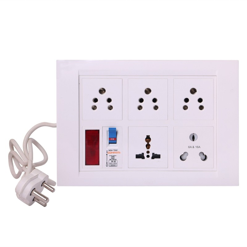 Bahul Strip extension multi outlet board 5  Socket Extension Boards(White)