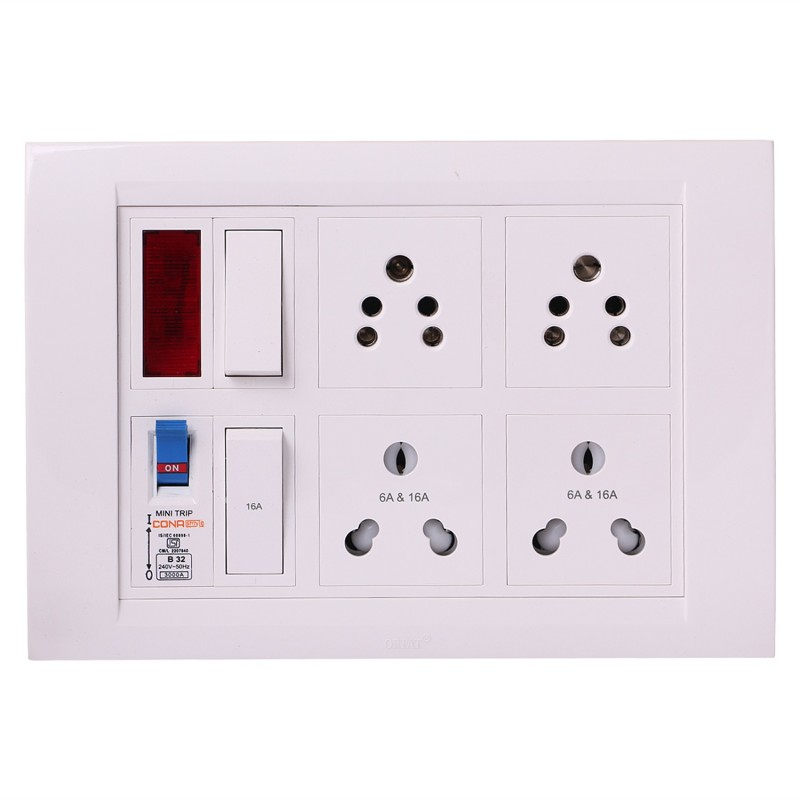 Shri Krishna Bahul power strip extension multi outlet board Contains One Orpat Switch(15 Amp) Fitted with 2 Orpat Sockets(5 Amp) And 2 Orpat Sockets(15 Amp) Fitted With One Orpat Switch(15 Amp) And One Cona MCB(32 Amp) With 4 Metre Chord 4  Socket Extension Boards(White)