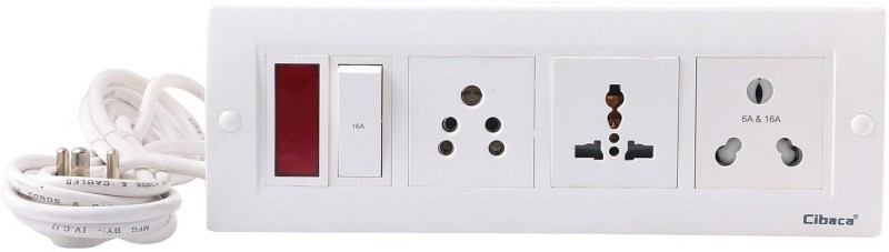 Cibaca Power strip extension multi outlet board with one light indicator 3  Socket Extension Boards(White)