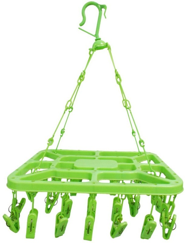RIANZ 32 Clips Hanger With High Fiber Plastic Laundry Clothesline Hanging Rack for Drying Clothing Plastic Ceiling Cloth Dryer Stand(Multicolor)