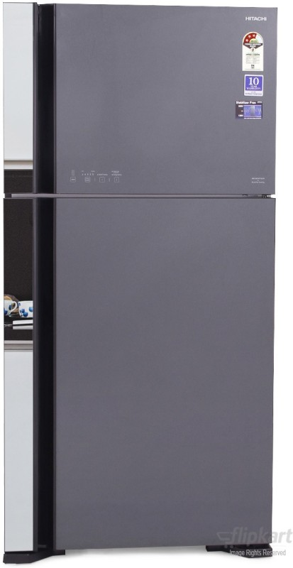 Hitachi 565 L Frost Free Double Door 3 Star Refrigerator(Glass Grey, R-VG610PND3)
