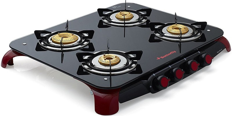 Butterfly Signature 4 Burner Glass Manual Gas Stove(4 Burners)