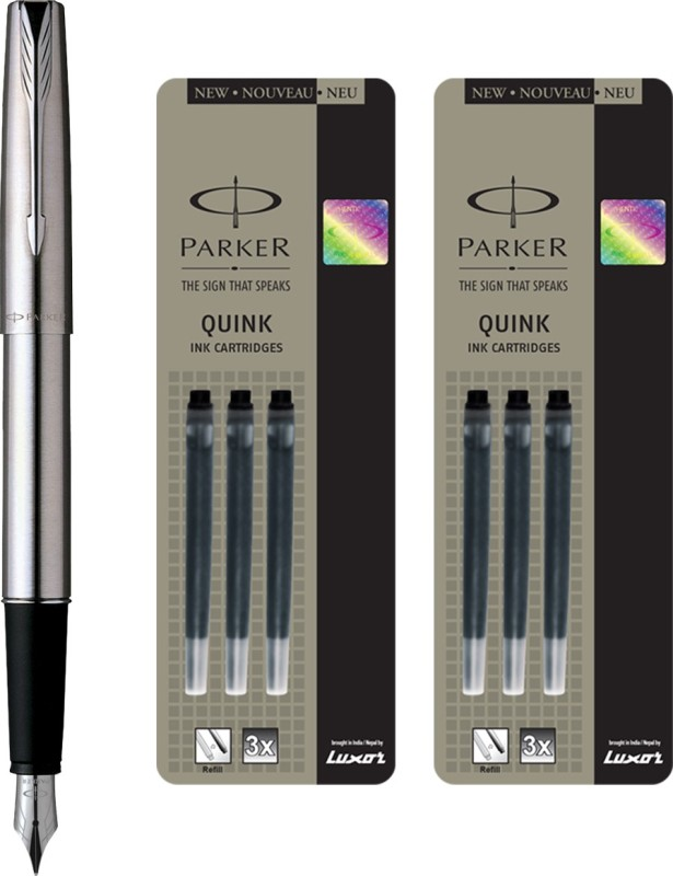 Parker Frontier Stainless Steel CT Fountain Pen with 6 Black Quink Ink Cartridge(Pack of 3)